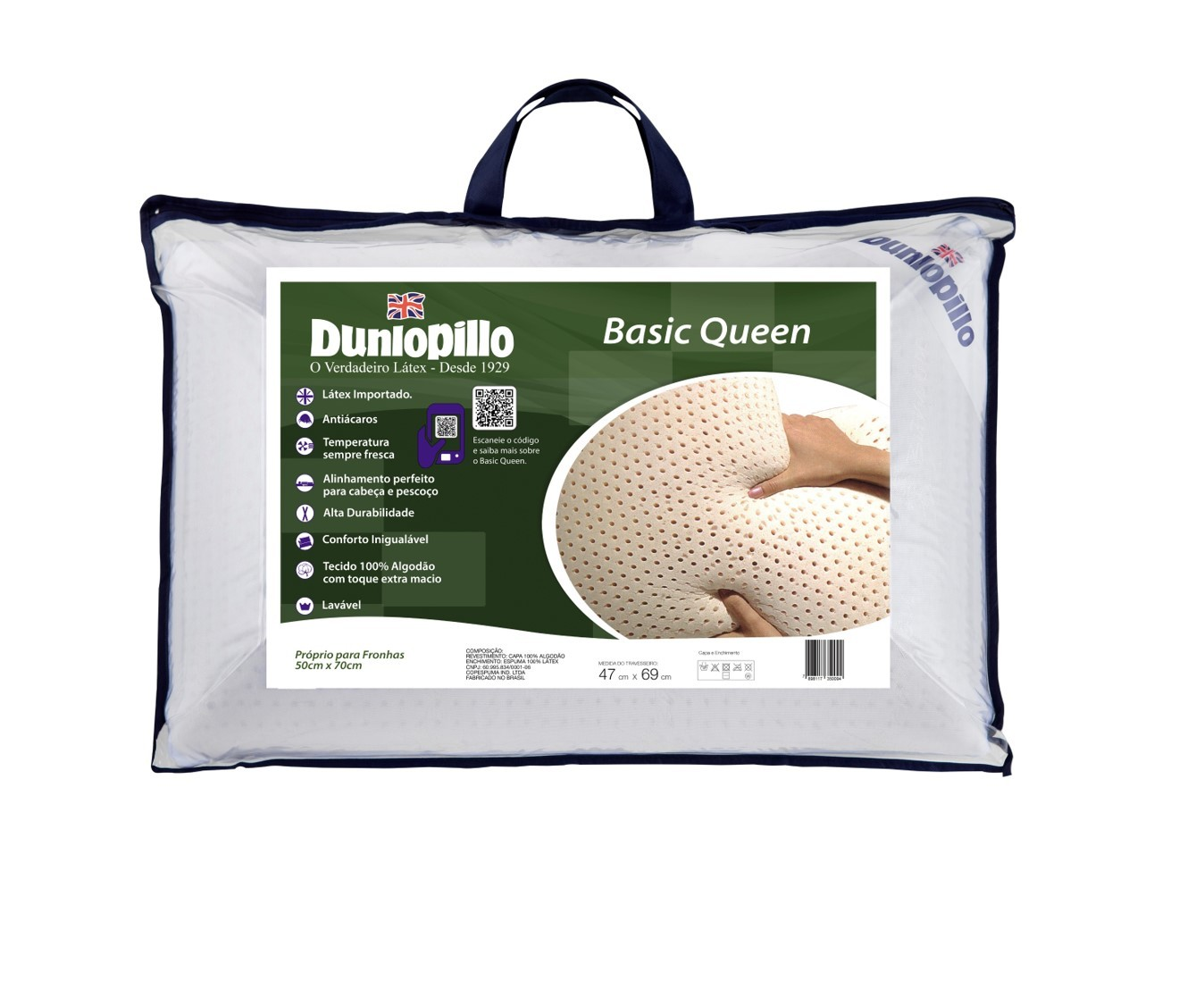 Travesseiro Basic Queen 0.50x0.70 100% Látex Natural - Dunlopillo