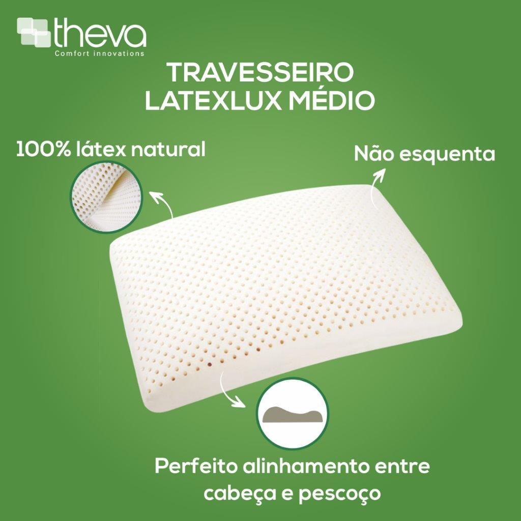 Travesseiro Latexlux Médio 100% Látex Natural Theva