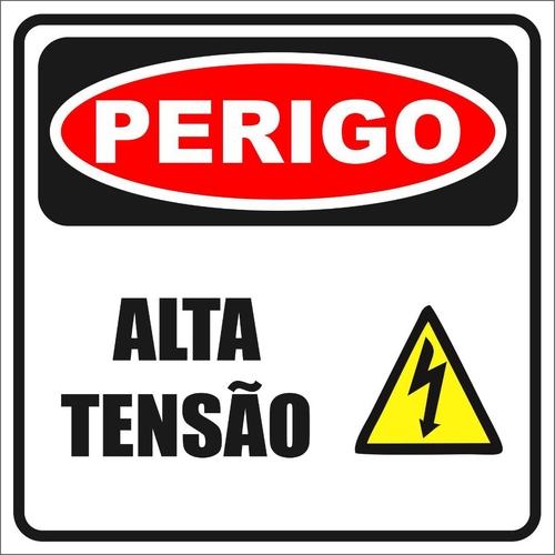 PLACA 20X15 PERIGO ALTA TENSÃO MANTENHA DISTÁNCIA