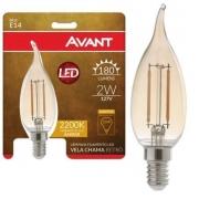 LAMPADA AVANT LED RETRO 2W VELA CHAMA E14 180LUM