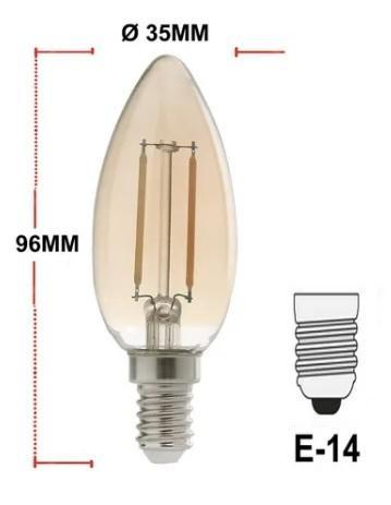 LAMPADA AVANT LED RETRO 2W VELA E14 180LUMENS
