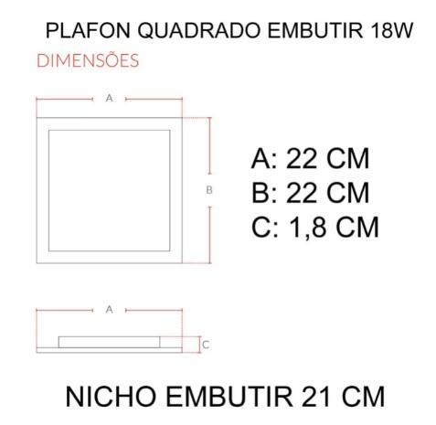 PAINEL AVANT LED POP 18W QUAD 22X22