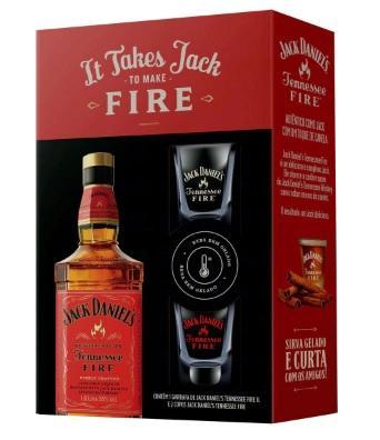 WHISKEY JACK DANIELS 1L FIRE C/ 2 COPOS