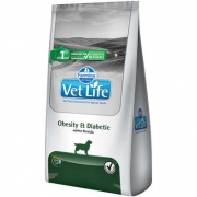 Alimento Seco Vet Life Natural Obesity & Diabetic para Cães Adultos Obesos ou Diabéticos -Farmina