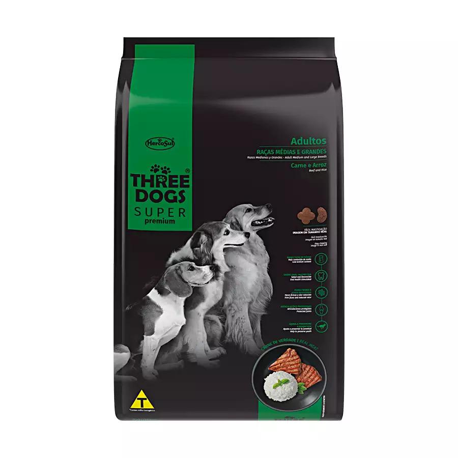 Alimento Seco para Cães Adultos - Raças Médias e Grandes - Super Premium - Carne e Arroz - Three Dogs - Hercosul