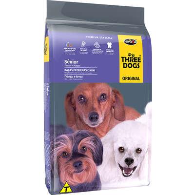 Alimento seco Three Dogs Frango e Arroz para Cães Sênior Raças Pequenas e Mini