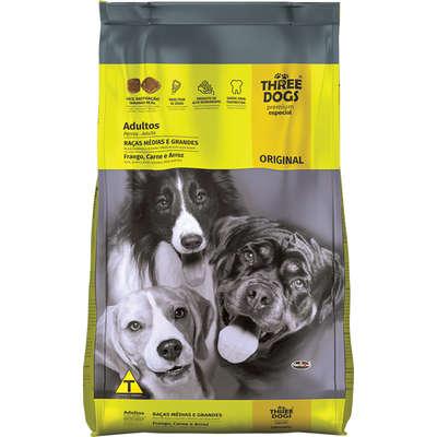 Alimento seco Three Dogs Original Frango, Carne e Arroz para Cães Adultos Raças Médias e Grandes