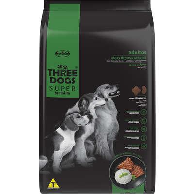 Alimento seco Three Dogs Super Premium Carne e Arroz para Cães Adultos Raças Médias e Grandes
