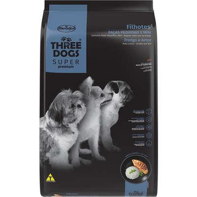 Alimento seco Three Dogs Super Premium Frango e Arroz para Cães Filhotes Raças Pequenas e Mini