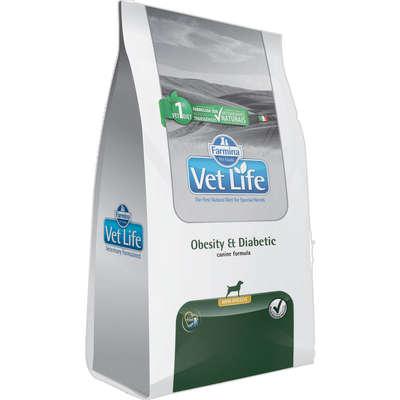 Alimento Seco Vet Life Natural Obesity e Diabetic para Cães Mini -Farmina