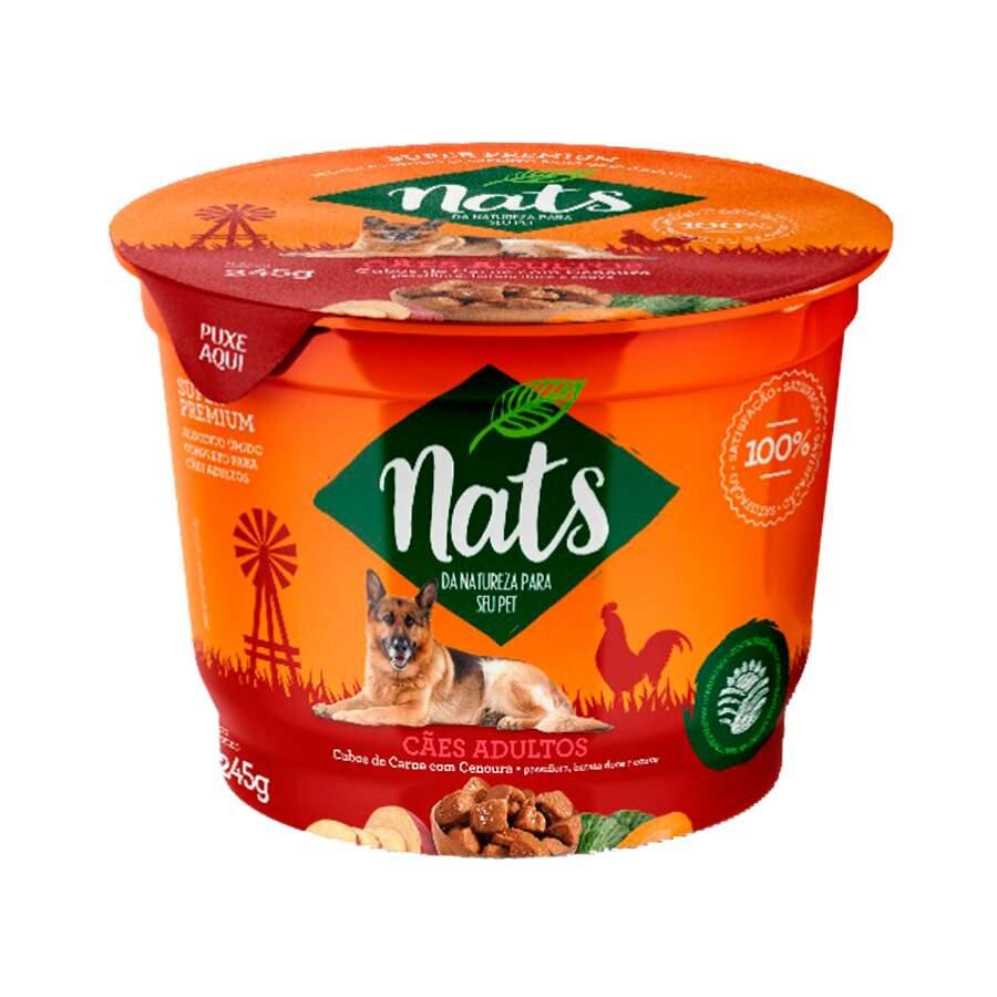 Alimento Úmido Nats Cães Adultos Cubos de Carne com Cenoura
