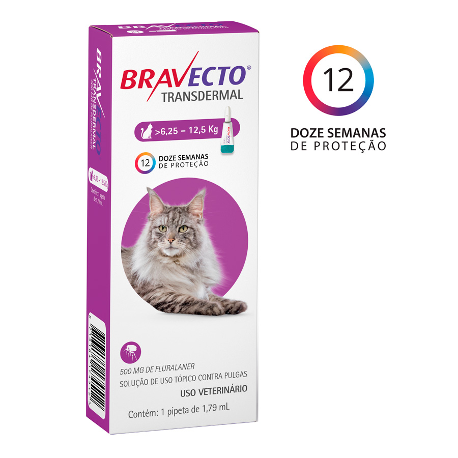 Antipulgas Transdermal MSD para Gatos 6,25 a 12,5kg -Bravecto