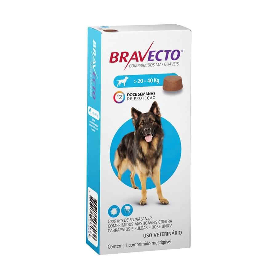 Antipulgas e Carrapatos MSD para Cães de 20 a 40 kg - Bravecto