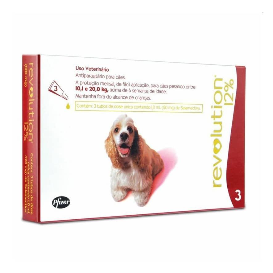Antipulgas e carrapatos Revolution 12% 1ml para Cães 10,1Kg a 20kg -Zoetis
