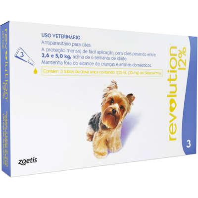 Antipulgas e Carrapatos Revolution 12% para Cães de 2,5 a 5 kg 30 mg -Zoetis