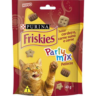 Petisco Friskies Party Mix Cordeiro, Carne Suína e Carne para Gatos Adultos -Purina