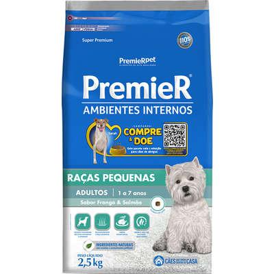 Alimento Seco para cães de ambientes Internos Frango e Salmão -Premier Pet