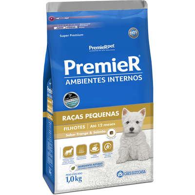 Alimento seco para Cães Filhotes em  Ambientes Internos Frango e Salmão -Premier Pet