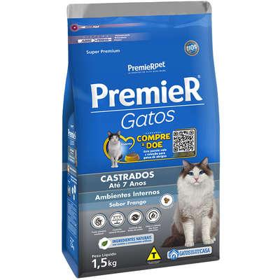 Alimento seco para Gatos Castrados Até 7 Anos Ambientes Internos  Frango -Premier Pet