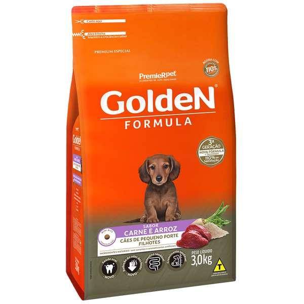 Alimento Seco Golden Formula Carne e Arroz para Cães Filhotes de Raças Pequenas -PremieR Pet