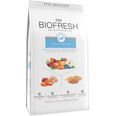 Alimento Seco Mix de Carne, Frutas, Legumes e Ervas Frescas Cães Castrados de Raças Médias -Biofresh
