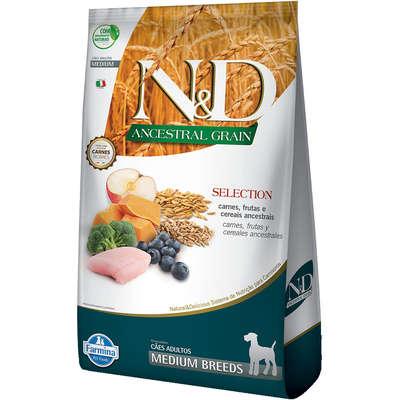Alimento Seco N&D Ancestral Grain Selection Carnes e Frutas para Cães Adultos Raças Médias -Farmina
