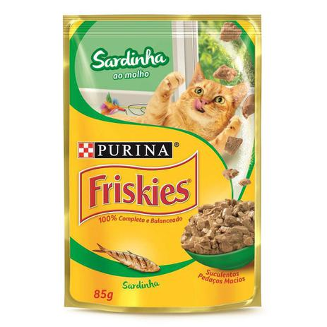 Alimento Úmido Friskies Sachê Sardinha ao Molho para Gatos 85g -Purina