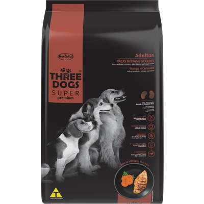 Alimento Seco para Cães Adultos - Raças Médias e Grandes - Super Premium - Frango e Cenoura - Three Dogs - Hercosul