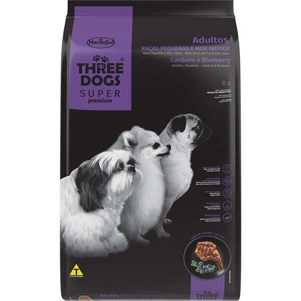 Alimento seco para Cães Adultos - Raças Pequenas e Mini Indoor - Super Premium - Cordeiro e Blueberry - Three Dogs - Hercosul