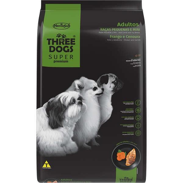 Alimento seco para Cães Adultos - Raças Pequenas e Mini - Super Premium - Frango e Cenoura - Three Dogs - Hercosul