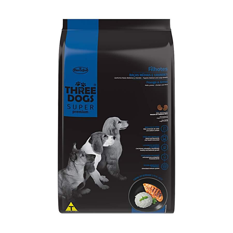 Alimento seco para Cães Filhotes - Raças Médias e Grandes - Super Premium - Frango e Arroz - Three Dogs - Hercosul