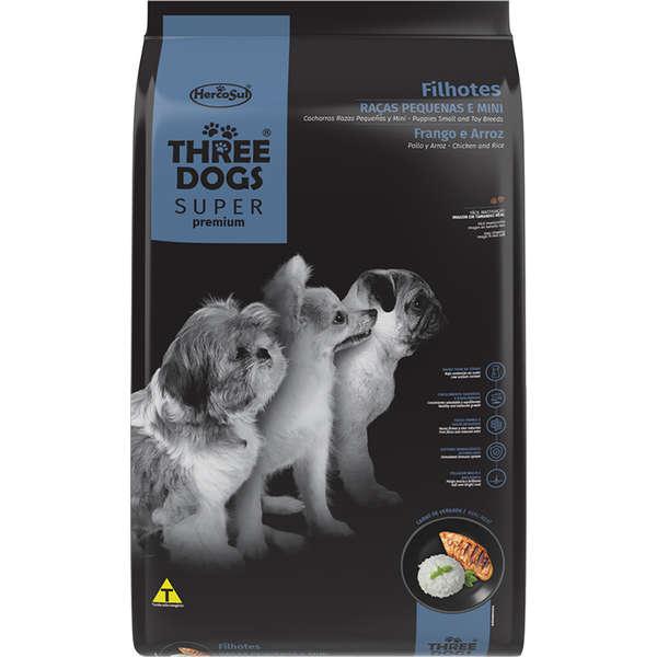 Alimento seco para Cães Filhotes - Raças Pequenas e Minis - Super Premium - Frango e Arroz - Three Dogs - Hercosul