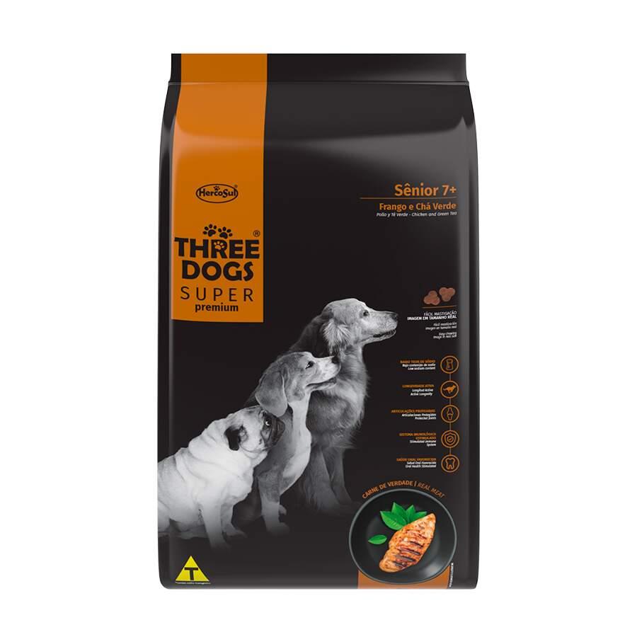Alimento seco para Cães Sênior 7+ - Todas Raças - Super Premium - Frango e Chá Verde (15kg) - Three Dogs - Hercosul