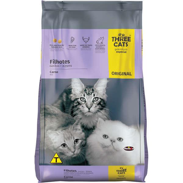 Alimento seco para Gatos Filhotes Three Cats - Carne - Hercosul