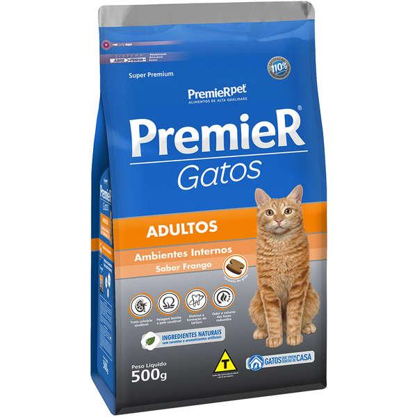 Ração Premier Pet Gatos Ambientes Internos Adultos Frango 500 g