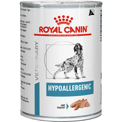 Alimento úmido Lata Canine Veterinary Diet Hypoallergenic Wet para Cães 400g -Royal Canin