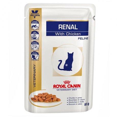 Alimento úmido Feline Veterinary Diet Renal Frango para Gatos com Doença nos Rins 85 g -Royal Canin