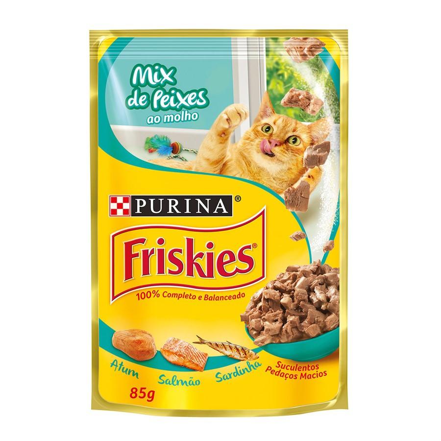 Alimento Úmido Friskies Mix de Peixes 85g -Purina
