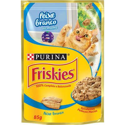 Alimento Úmido Friskies Peixe Branco ao Molho para Gatos Adultos 85g -Purina