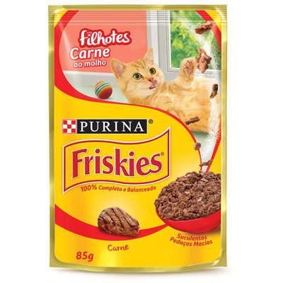Alimento Úmido Friskies Sachê Carne ao Molho para Gatos Filhotes 85g -Purina