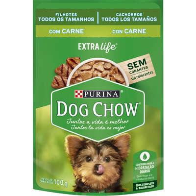 Alimento Úmido Purina Dog Chow Extra Life Sachêpara Cães Filhotes Sabor Carne -100g