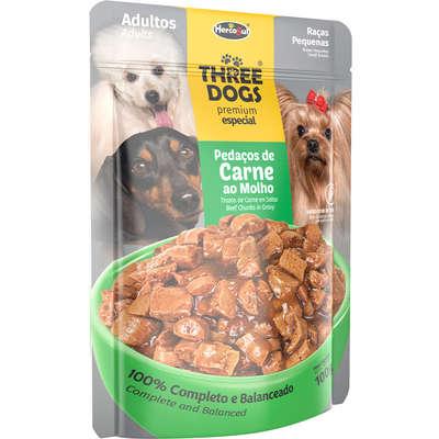 Alimento Úmido Three Dogs Sachê Premium Especial Cães Adultos Raças Pequenas Pedaços de Carne ao Molho -100g