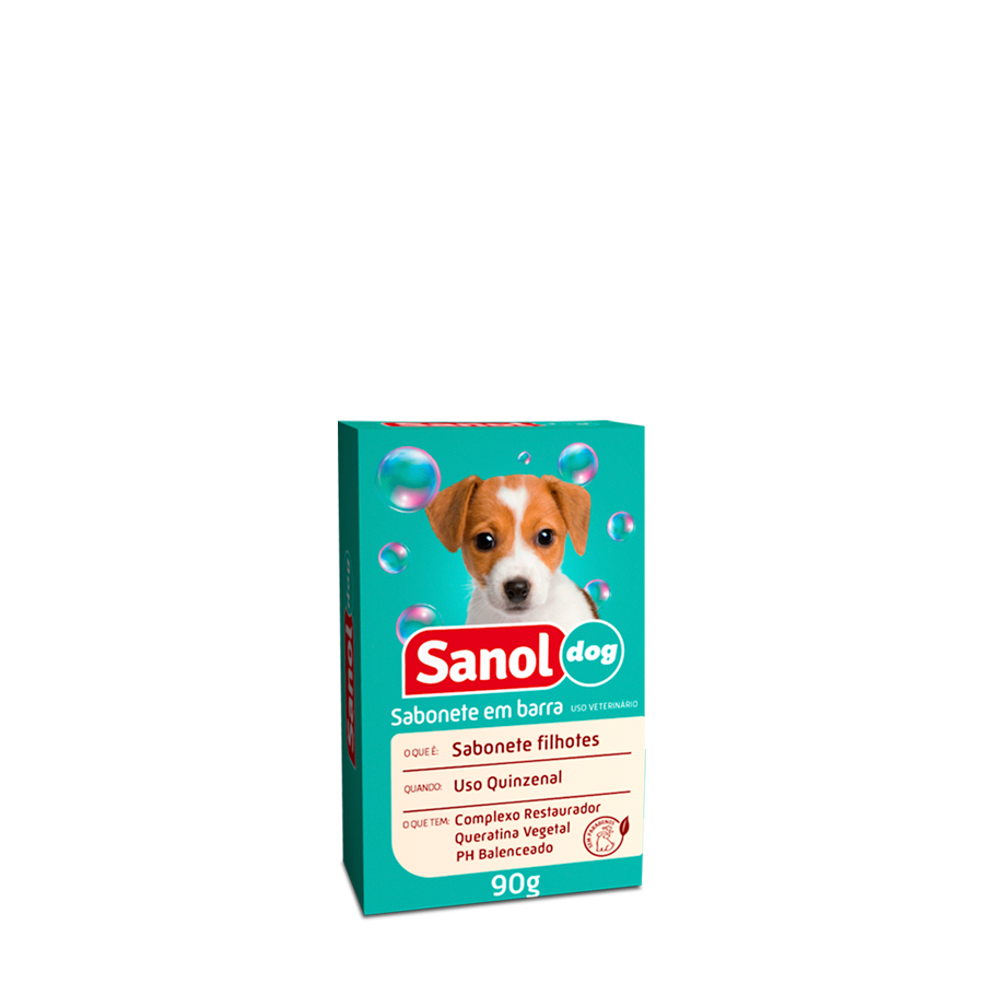 Sabonete em barra Sanol Dog Filhotes para Cães e Gatos -90g