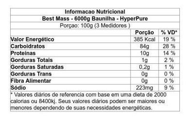 Hipercalórico Best Mass 6 Kg Sabor Baunilha