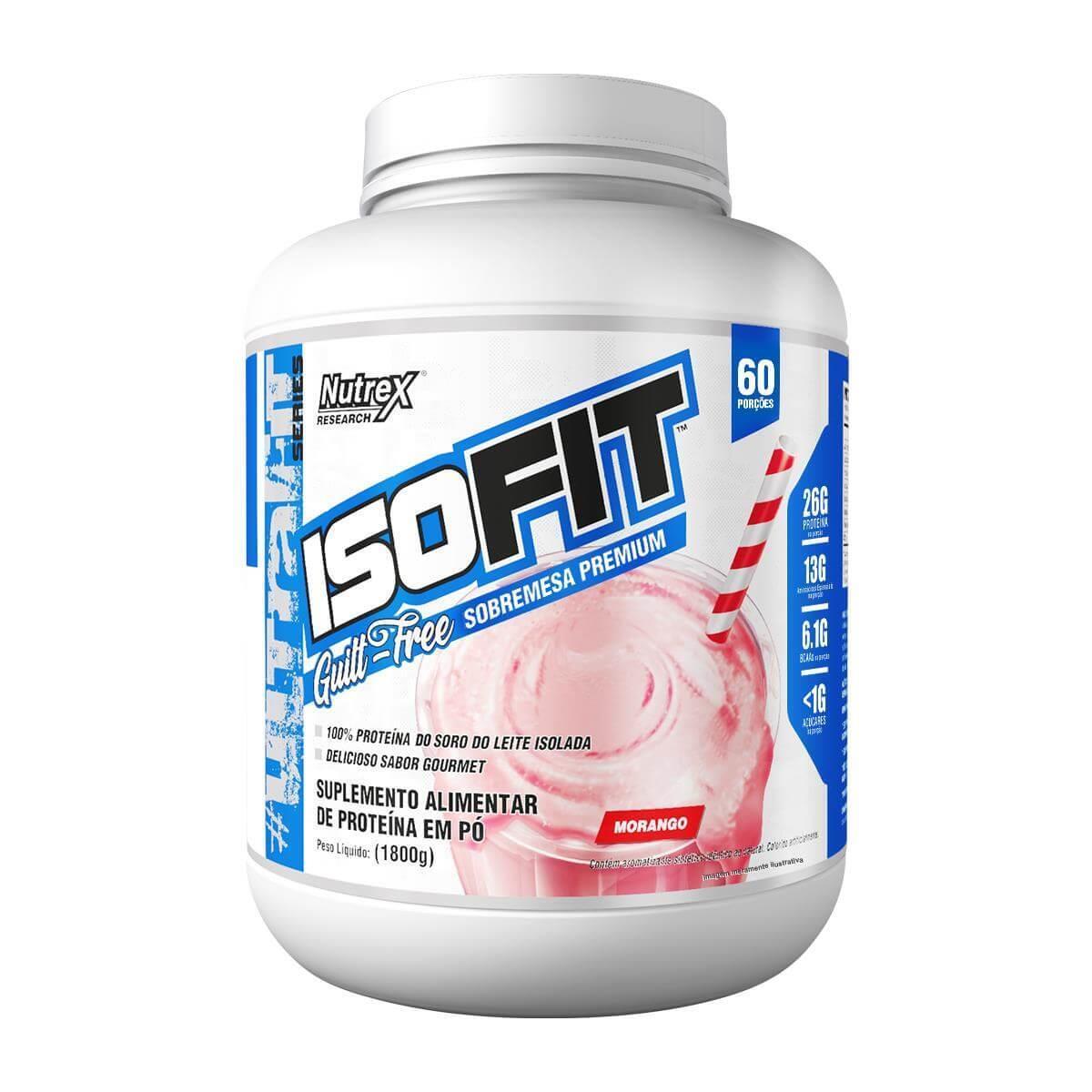 Isofit 100% Whey Isolado Sabor Morango 1,800 kg