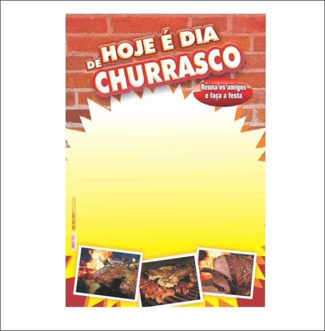 CARTAZ HOJE É DIA DE CHURRASCO 29X40CM (C/50 UNIDADES)