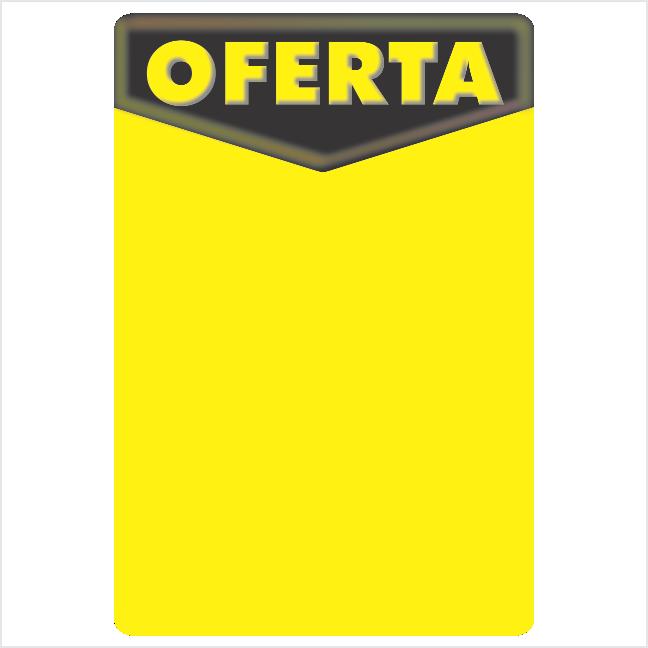 CARTAZ OFERTA 40X60CM (C/50 UNIDADES, 2D, C/ARREDONDADO, 180G FOSCO MAIS FINO PRETO E AMARELO)