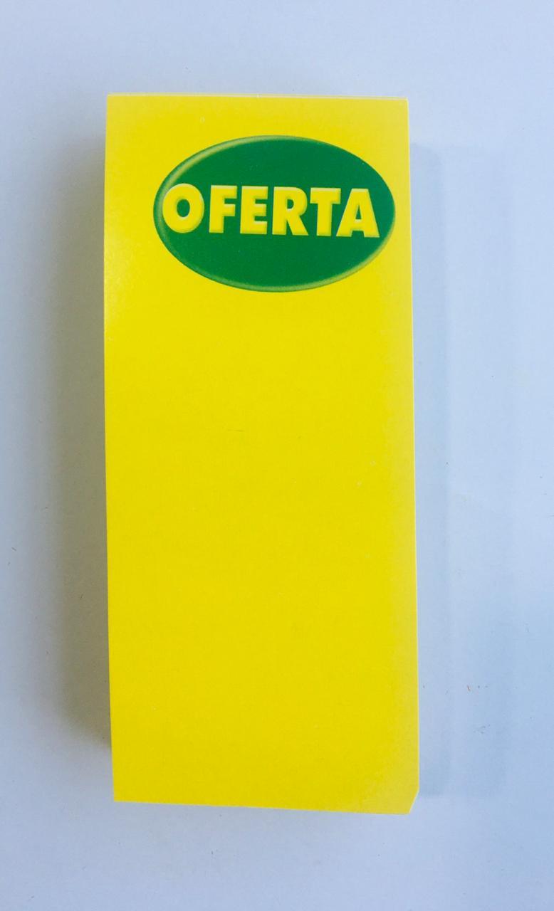 CARTAZ OFERTA AMARELO E VERDE 7X14CM (C/100 UNIDADES)