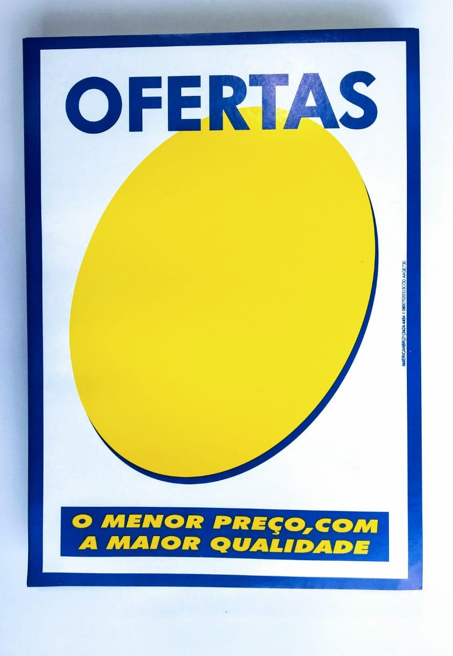 CARTAZ OFERTA AZUL E BRANCO 20X30CM (C/50 UNIDADES)