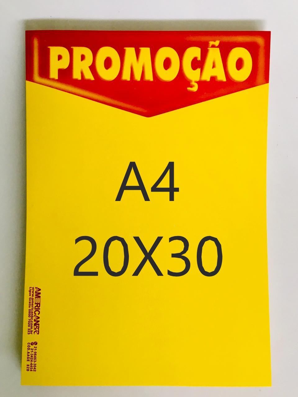 CARTAZ PROMOÇÃO 20X30CM (C/50 UNIDADES, 2D, 250G)